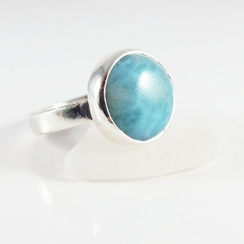 Sterling Silver Larimar Ring, Dominican Republic Ring, Blue Stone Ring, Persian Blue Ring, Atlantis Ring, Volcanic Blue Ring, Size 6.5