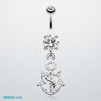 Classy Anchor Tiffany Inspired Dangle Belly Button Ring
