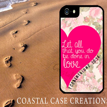 Pink Heart Floral 1 Corinthians Bible Verse Quote Apple iPhone 4 4G 4S 5G Hard Plastic Cell Phone Case Cover Original Trendy Stylish Design