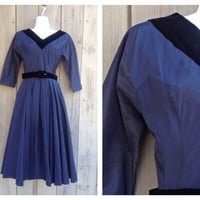 Vintage dress | Midcentury navy princess dress with velvet trim and red crinoline
