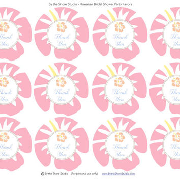 Pink/Peach Hawaiian Bridal Shower Favor Tags: INSTANT DOWNLOAD