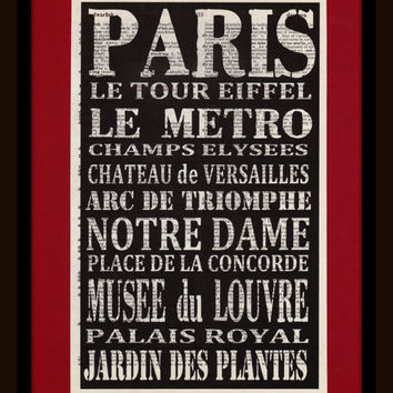 French Subway Art on Antique Dictionary Page - Shabby Chic - French Travel - Paris Art - Subway Art - Paris Apt Chic