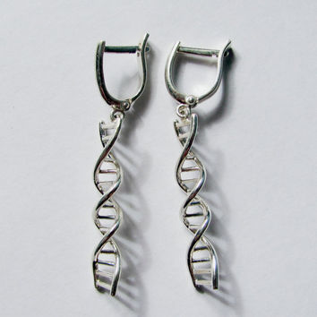 Silver DNA Earrings, Science Earrings, Science Jewelry, Chromosome Earrings, helix jewelry, Gift for Doctor, Molecular Jewelry