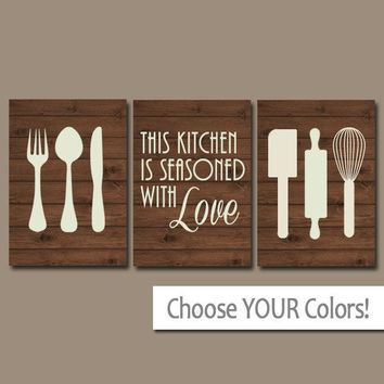 KITCHEN Wall Art, CANVAS or Prints, Utensil PICTURES, Kitchen Quote Decor, Wood Seasoned with Love, Set of 3 Housewarming Gift, Home Decor