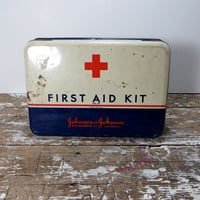 First Aid Kit Tin Johnson and Johnson Tin Storage Tin Medical Tin Vintage First Aid Tin Medicine