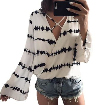 Sexy Women Bandage Blouse 2017 Summer Loose Long Sleeve Stripe Printed Tops Casual White Chiffon Blouse kimono