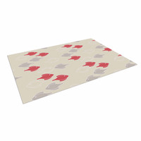 "Gukuuki ""Mayan Fish"" Beige Magenta Indoor / Outdoor Floor Mat"