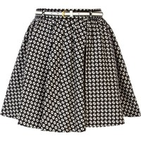 Black and white geometric print skater skirt - skirts - sale - women