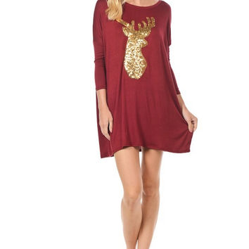 Sequined Reindeer Dolman Tunic - Burgundy