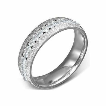 Silver Sandblasted Stainless Steel Eternity Ring