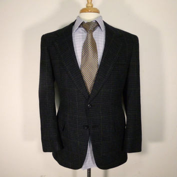 Vintage mens blazer sport coat jacket 80's by Kuppenheimer Blue Tweed Windowpane 38