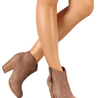 Romane Faux Suede Ankle Booties - Nude - FINAL SALE