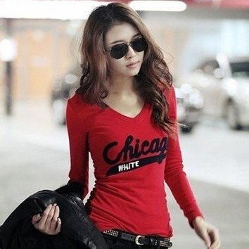 autumn and winter NEW HOT Fashion trendy Cozy women ladies Noble clothes Tops Tees T shirt Long-sleeved V neck letters T-shirt = 1930447300