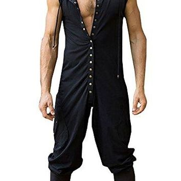Styou Men's Button Sleeveless Hoodie Jumpsuit Summer Casual Romper Overalls