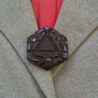 Vintage BAKELITE Button Deeply Carved Dark Chocolate Brown, Coat Jacket SEWING Buttons, LARGE Chunky Size c.1940's