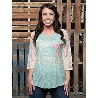 Faith Above Everything Raglan with Cream Lace Sleeves