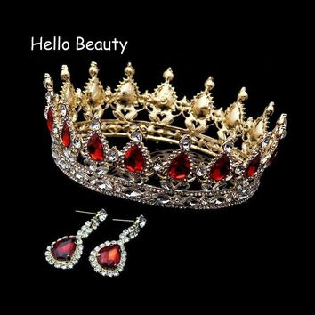 Cool Big Vintage Red Crystal King Queen Prom Tiaras Full Round Rhinestone Crown Wedding Diadem Pageant Bridal Bride Hair AccessoriesAT_93_12