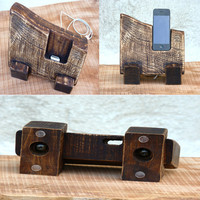 Wooden iPhone Stand. Eco-Friendly iPhone station. Wooden iPhone Charging Station.