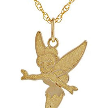 """Disney """"Tinker Bell"""" Girl's 14k Pendant Necklace and Gold Filled Chain, 18"""""""