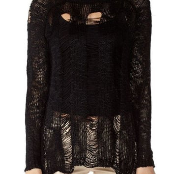 Black Ripped Long Sleeve Sweater