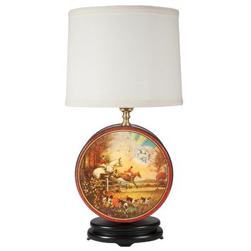Vintage English Hunt Scene Tin Lamp