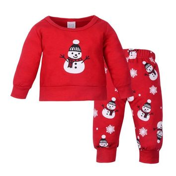 Red Winter Cute Baby Clothes Set Warm Boys Girl New Years Tops and Pants Little Snowman Print Christmas Clothing Set