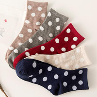 Womens 5Pcs Dots Socks Gift 01