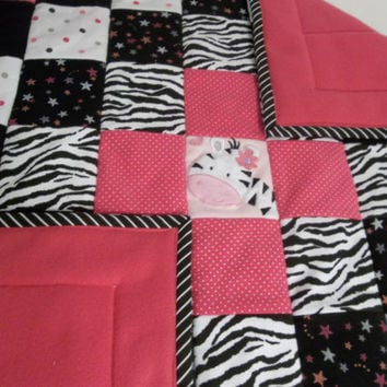 Hot Pink Zebra Baby Quilt, Pink and Black Nursery, Zebra Play Mat, Zebra Baby Girl Bedding, Upcycled Baby Clothes Quilt