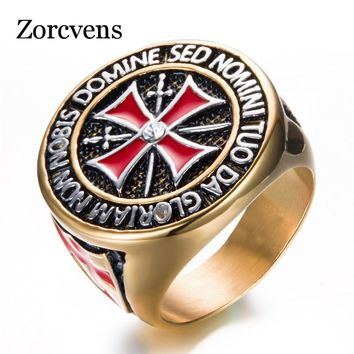 ZORCVENS Antique Stainless Steel Gold/Silver Color Iron Knights Templar Cross Wedding Ring for Women