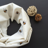 Bees Printed Circle Infinity Scarf Ivory Cotton Satin Blend Fashion Scarves, Gift Ideas for Her