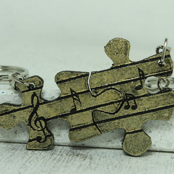 Music notes puzzle pieces Set of 2 Keychains Yellow Gold color