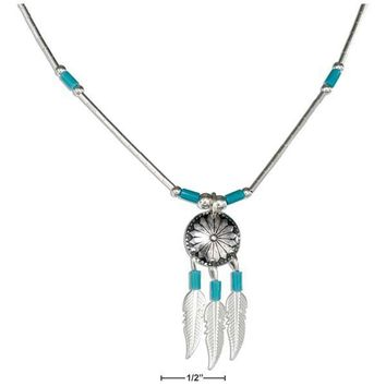 "Sterling Silver 16"" Concho Necklace With Feathers And Simulated Turquoise Heishi"