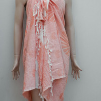Turkish peshtemal style sunshine patterned beach cover up pareo, sarong, swimwear cover up, beach towel, summer shawl.