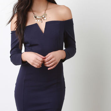 Off Shoulder Bodycon Mini Cocktail Dress