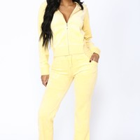 Girl Next Door Velour Lounge Set - Yellow