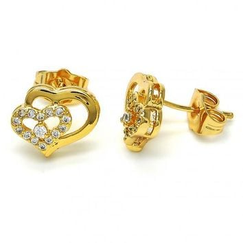 Gold Layered 02.304.0003 Stud Earring, Heart Design, with White Cubic Zirconia, Polished Finish, Golden Tone