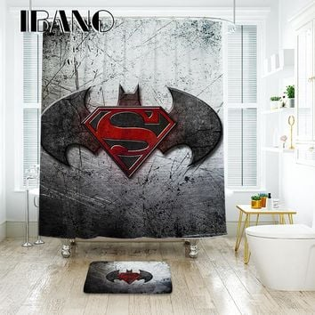 IBANO Batman Logo Shower Curtain Waterproof Polyester Fabric Bath Curtain For The Bathroom And The Floor Mat
