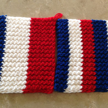 French France Flag Knitted Pot Holder Trivet