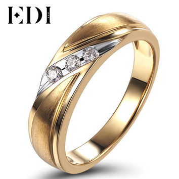 EDI Gentleman Moissanites 0.11cttw Lab Grown Diamond Three Stone Band 14K Yellow Gold Wedding Engagement Mens Ring Customize
