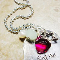 Shine on upcycled vintage tea spoon hand stamped necklace with fuschia faceted gem crystal silver star charm