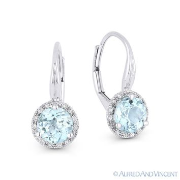 1.57 ct Blue Topaz Diamond 14k White Gold Dangling Drop Leverback Baby Earrings