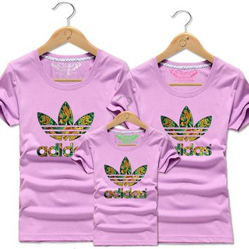 One-nice™ ADIDAS print Family set short sleeve top tee shirt