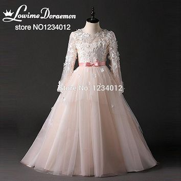 2017 New Princess Flower Girl Dresses For Weddings Pink Lace A Line Sash Bow Holy Communion Dresses For Girls Glitz For Pageant