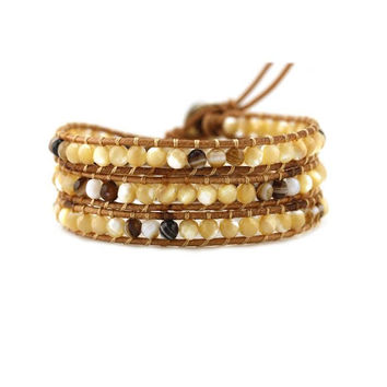 Shell and Brown Agate on Natural Leather Wrap Bracelet