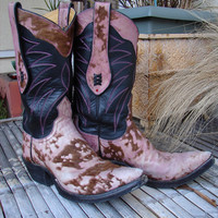 Pink Spotted furry Leather Cowboy/Cowgirl Boots Custom Hand Made to your feet/foot