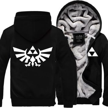 High Quality The Legend of Zelda Link Men Thicken Hoodie Women Anime Zipper Coat Jacket Sweatshirt Cosplay Costume Plus Size