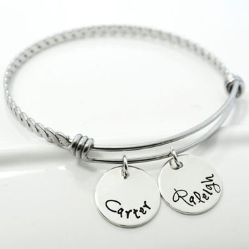 Personalized Adjustable Braided Mommy Bangle Bracelet