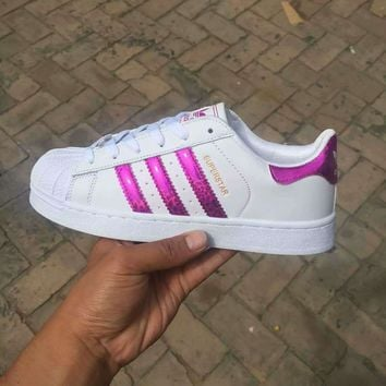 Adidas Fashion Reflective Shell-toe Flats Sneakers Sport Shoes Laser Purple