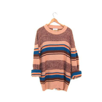 Vintage 70s Sweater Retro Light Brown Blue Orange Striped Boyfriend Sweater Crewneck Nerd Sweater 80s Oversized Jumper XL Large