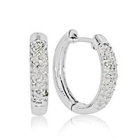 10k White Gold 1/4-ct. T.W. Diamond Hoop Earrings: Jewelry: Amazon.com